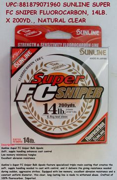 Sunline Super FC Sniper Bulk Spools Sunline's Super FC Sniper Bulk Spools feature specialized triple-resin coating that creates the soft, supple handling needed to cast with control, and it delivers the giving resistance needed during sudden, Resin Coating, Fishing, It Cast, Peaches, Gone Fishing