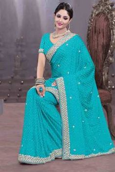 Light blue georgette stone worked saree in white georgette border  Buy Now @ Rs 8750