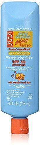 Avon Skin-So-Soft SPF 30 Bug Guard Cool N Fabulous 4 ounce Lotion color disappearing, starts blue to aid coverage and ad fun, then turns invisible! Insect repellent, Bug guard Contains Ir3535, America's #1 DEET-FREE Repellent! Moisturizing lotion containing Vitamin E and Aloe https://skincare.boutiquecloset.com/product/avon-skin-so-soft-spf-30-bug-guard-cool-n-fabulous-4-ounce-lotion/