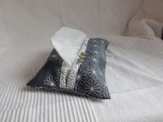 Regular size tissue holder in grey cotton with a by clarashandmade, $8.50