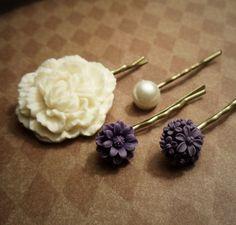 $15 Royal Purple Hairpin set - Wedding Accessories- pearl, daisy, carnation, dahlia, mum