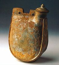 Liao dynasty, CE Pottery with light green glaze H: cm From Liao tomb at Erlinchang Tongliao County, Zhelimu League Ancient Art, Ceramic Art, Fig, Metal Working, Cuff Bracelets, Ceramics, Flasks, Ropes, Antiques