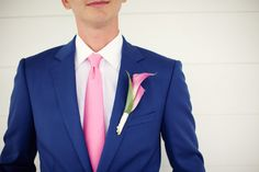 Pink, Blue, Boutonniere, Navy, Tie, Suit, Men, Coat, Kristin broen