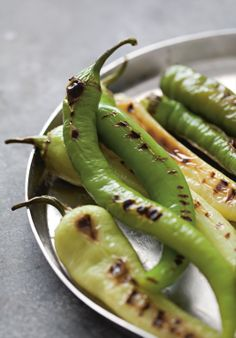 Grilled long green capsicums recipe by Rebecca Seal from the book Istanbul Pickles, Cucumber, Seal, Grilling, Salads, Clean Eating, Banana, Healthy Recipes, Fruit