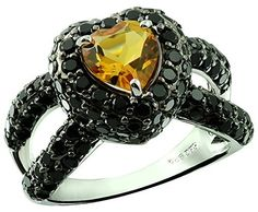 4.36 Carats Citrine with Black Onyx Silver Ring available at joyfulcrown.com