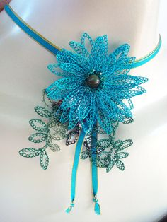 Crocheted Wire Necklace 3D Blu Flower with Leaves by dragonswire #handmade #jewelry #crochet