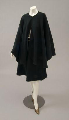 Woman's ensemble: skirt, cape and belt | Designed by Roy Halston Frowick, known as Halston (American, 1932-1990) | United States, mid-1970's | Forest green wool blend knit, off-white plastic | Philadelphia Museum of Art