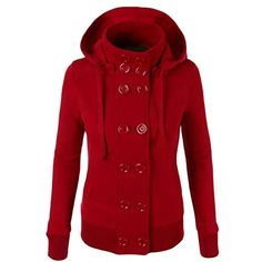 c8c8b42c11d solid women s hoodies sweatshirts black winter outerwear fashion jacket coat  casaco classic Double Breasted Red coat Plus size