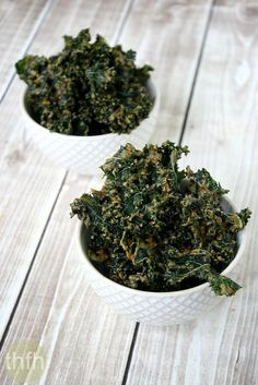 """Clean Eating Kale Chips with Spicy Peanut Sauce...made with clean ingredients and a dehydrator, they're """"almost"""" raw, vegan, gluten-free and contain no refined sugar 