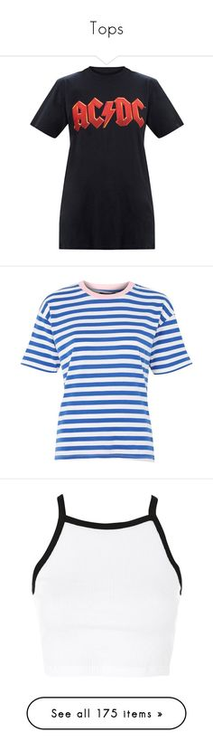 """""""Tops"""" by isthelastofus ❤ liked on Polyvore featuring tops, t-shirts, slash t shirt, slash top, topshop, blue, striped t shirt, stripe tee, pastel t shirts and cotton tees"""
