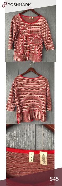 """ANTHROPOLOGIE VALENTINE'S DAY SWEATER ♥️ This blouse looks better on me than on the hanger, and I'm sure it will for you too! This like new, size small, red and white sweater from Anthropologie's brand """"MOTH"""", will be perfect for your Valentine's Day next month ♥️✨ Anthropologie Tops Blouses"""