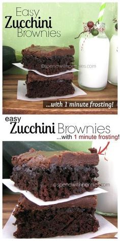 Easy Zucchini Brownies w/ 1 Minute Frosting Zucchini Brownies with 1 Minute Frosting!Easy Zucchini Brownies with 1 minute Frosting! These are quick and amazing to make. and the zucchini keeps them so moist and amazing! Just Desserts, Delicious Desserts, Dessert Recipes, Yummy Food, Healthy Desserts, Yummy Treats, Sweet Treats, Eat Better, Gula