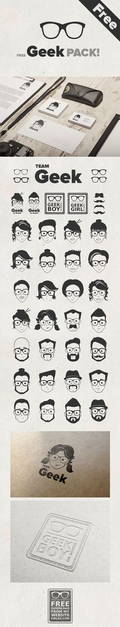 Hot Geek Pack! Vector Geek faces and more. Geek boys and girls, geek teams, geek glasses. Perfect for logos, avatars, stickers. And the best part is you can mix and match them to create totally new illustrations. Free for both commercial and personal use...