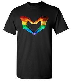 Love Heart Hand Sign Symbol Gay Pride Rainbow Peace Equality T-Shirt