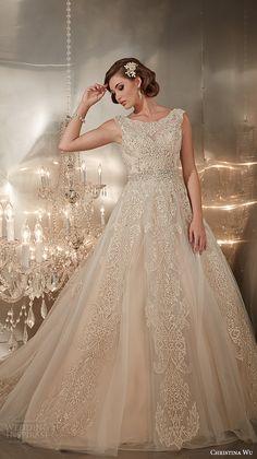 christina wu wedding dresses 2015 beaded straps jewel neckline beautiful a line wedding dress 15576