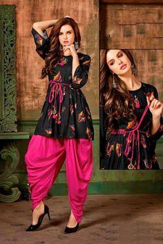 Buy Pretty Rayon Dhoti Kurti Set (Code: online from sourgrape's online Simple Pakistani Dresses, Indian Gowns Dresses, Pakistani Dress Design, Stylish Dress Designs, Designs For Dresses, Stylish Dresses, Fashion Dresses, Casual Dresses, Women's Fashion