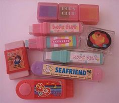 1980s cased erasers (Iron Lace) Tags: cute japan 80s kawaii ribbon 1980s stationery erasers popsclub gommes kutsuwa