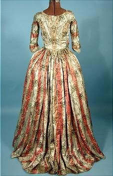 1770's Polonaise of Museum Quality Floral and Striped Brocaded Silk Polonaise with Original internal Drawstrings!