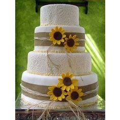 Sunflower wedding cake But with brushed buttercream instead of this design!