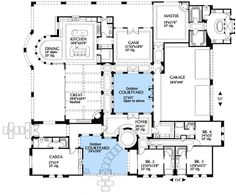images about Favorite house plans on Pinterest   Courtyards    Floor plan of favorite so far  Would Ike kitchen to border center courtyard so we