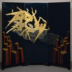 Fortissimo screen, 1925–26 Jean Dunand (French, born Switzerland, 1877–1942); Séraphin Soudbinine (French, born Russia, 1870–1944) Lacquered wood, eggshell, mother-of-pearl