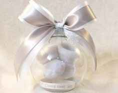 Items similar to Pregnancy Announcement, Gender Reveal Ball Ornament with Floating Baby Booties - Heart Charm on Etsy