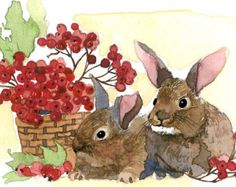 ACEO Limited Edition 2/25 - Bunnies, in watercolor