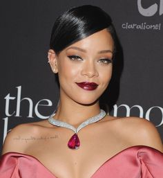 "Pin for Later: The Ultimate Celebrity Tattoo Gallery Rihanna Rihanna got her personal motto, ""Never a failure, always a lesson"" tattooed on her right shoulder, backwards, in gray ink."