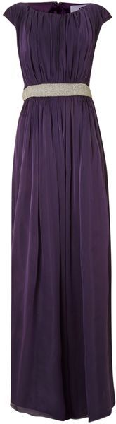 Js Collections Purple Beaded Waist Chiffon Dress