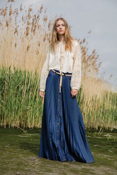 An Effortless Ivory Peasant Top and a pleated blue silk maxi-skirt for Veronique Branquinho Resort 2017.