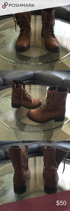 Steve Madden Troopa Cognac boots, size 8.5 Steve Madden Troopa Cognac boots, size 8.5.  Only worn a handful of times! Steve Madden Shoes