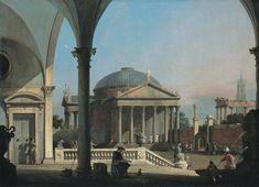 Canaletto, Caprice avec des ruines classiques et des bâtiments de la Renaissance. Vers 1753-1755. Huile sur toile, 87 x 121,5 cm. Rome, Collection BNL Groupe BNP Paribas © collection BNL – BNP Paribas