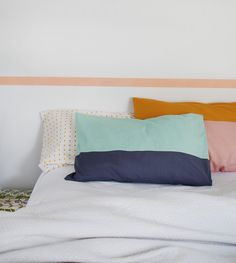 color-block pillowcase tutorial. love these colors!