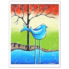 Whimsical Blue Bird Music Art Print  Children Art by hjmArtGallery, $18.00