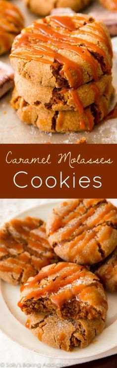 Soft-baked molasses crinkle cookies with a generous drizzle of caramel on top. A flavor-packed, spiced holiday cookie!