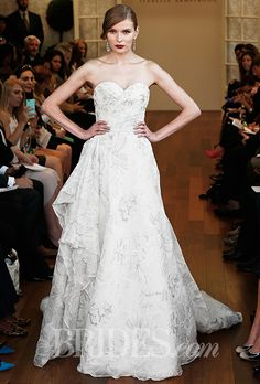 Brides.com: . Trend: Metallic. Strapless A-line wedding dress with a sweetheart neckline and metallic floral details, Isabelle Armstrong