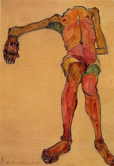 Egon Schiele >> Seated Male Nude, right Hand Outstretched | (Oil, artwork, reproduction, copy, painting).