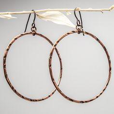 Big Hoop Earrings, Copper Hoop Earrings, Copper Hoops, Niobium Ear Wires, Rustic Copper Earrings, 50 mm Hoops, Boho Earrings by mymusejewelry on Etsy