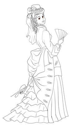 Lineart - Vintage Princess Belle by selinmarsou on deviantART