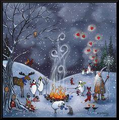 Hiver amis moutons Crows Moose, lapins de Badger, Teckels vieux homme hiver Fox Valentine coeurs imprimer par Deborah Gregg