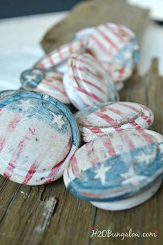 handpainted red white and blue knobs for americana dresser and DIY tutorial H2OBungalow