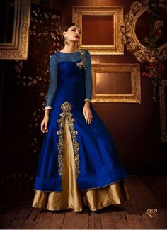 Buy Blue Taffeta Silk With Net Designer Anarkali Lehenga Choli
