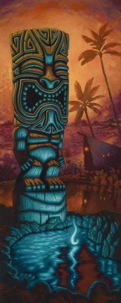 Fine Art Giclée Print by Brad Parker Blue Tiki against Hawaiian background Tiki Hawaii, Hawaiian Tiki, Tiki Maske, Tiki Art, Tiki Tiki, Tiki Tattoo, Tiki Head, Tiki Bar Decor, Tiki Totem