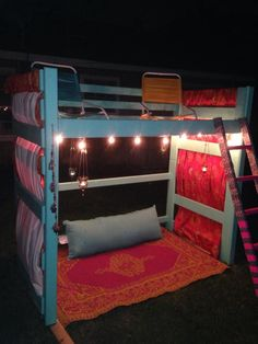 Repurposed bunk bed made into outdoor fun spot for kids. ~Amy Mathis is awesome!