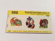 SALE - Thanksgiving Gum Seals by Eureka - Vintage Gift Wrapping Paper Seals - Holiday Stickers Stamps - 1 Unused Full Pack by TheGOOSEandTheHOUND on Etsy https://www.etsy.com/listing/163521356/sale-thanksgiving-gum-seals-by-eureka
