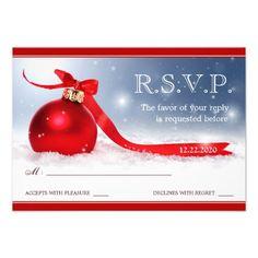 Christmas Wedding RSVP Response Card Template