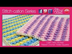 Raised Crochet Treble Square for Checkerboard Textures Throw Crochet Pattern | Red Heart