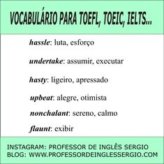 VOCABULÁRIO PARA #TOEFL, #TOEIC E #IELTS #INGLES Learning English, Ielts, Blog, Study, Instagram, Students, Learn English, Optimism, Words