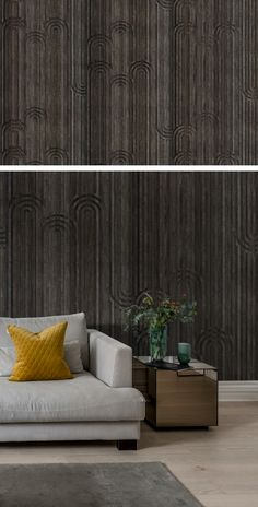 Dark Wood Wallpaper, Wallpaper Panels, Room Wallpaper, Wallpaper Ideas, Wooden Arch, Inspiration Boards, Beautiful Interiors, Wall Murals, Coffee Shop