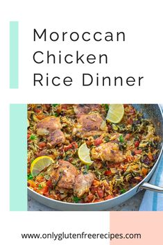A delicious Moroccan Chicken Rice Dinner made in one skillet. Using a blend of seven spices, raisins and dried apricots is what gives this chicken rice dinner the authentic Moroccan flavour #chicken #dinner #onlyglutenfreerecipes #glutenfree #comfortfood #moroccanrecipes #recipes #healthyrecipes Lime Chicken, Chicken Rice, Moroccan Chicken, Healthy Gluten Free Recipes, Dried Apricots, Gluten Free Chicken, Easy Weeknight Meals, Rice Dishes, Comfortfood